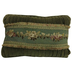Velvet Green Tassle 19th Century Antique French Tapestry Pillow