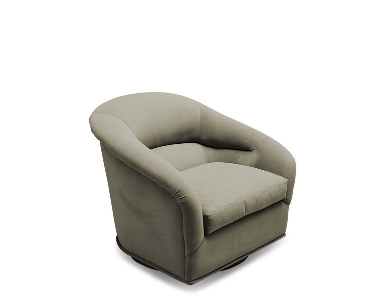 Brushed Velvet Huxley Swivel Chair and Ottoman by Lawson-Fenning For Sale