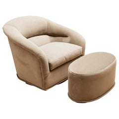 Velvet Huxley Swivel Chair and Ottoman by Lawson-Fenning