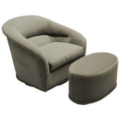 Velvet Huxley Swivel Chair and Ottoman by Lawson-Fenning