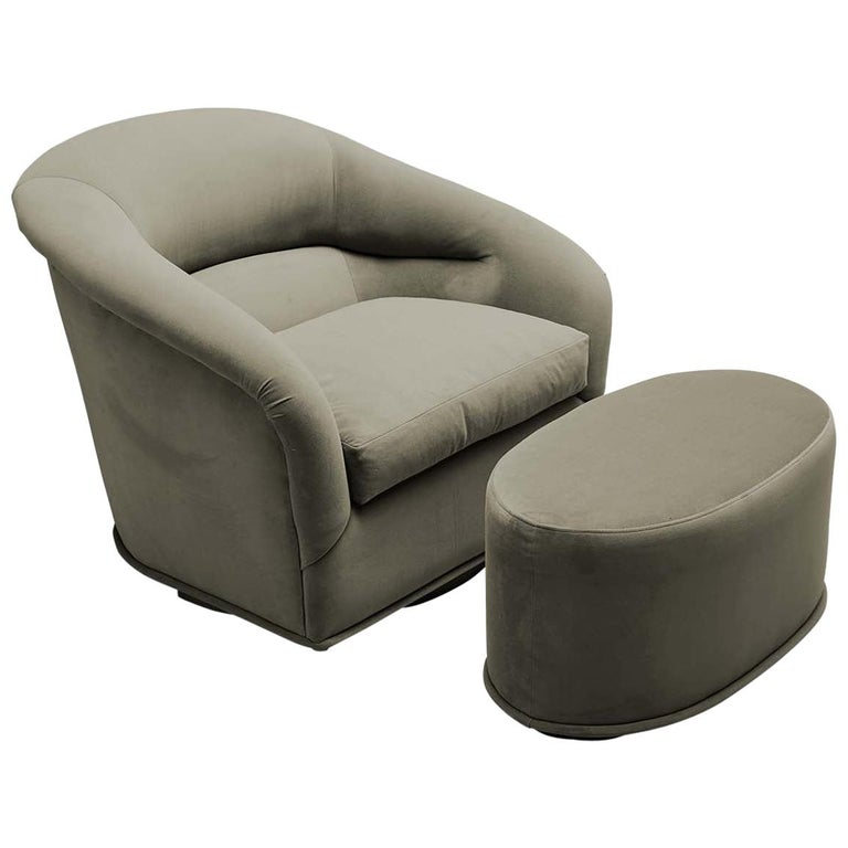 Velvet Huxley Swivel Chair and Ottoman by Lawson-Fenning For Sale