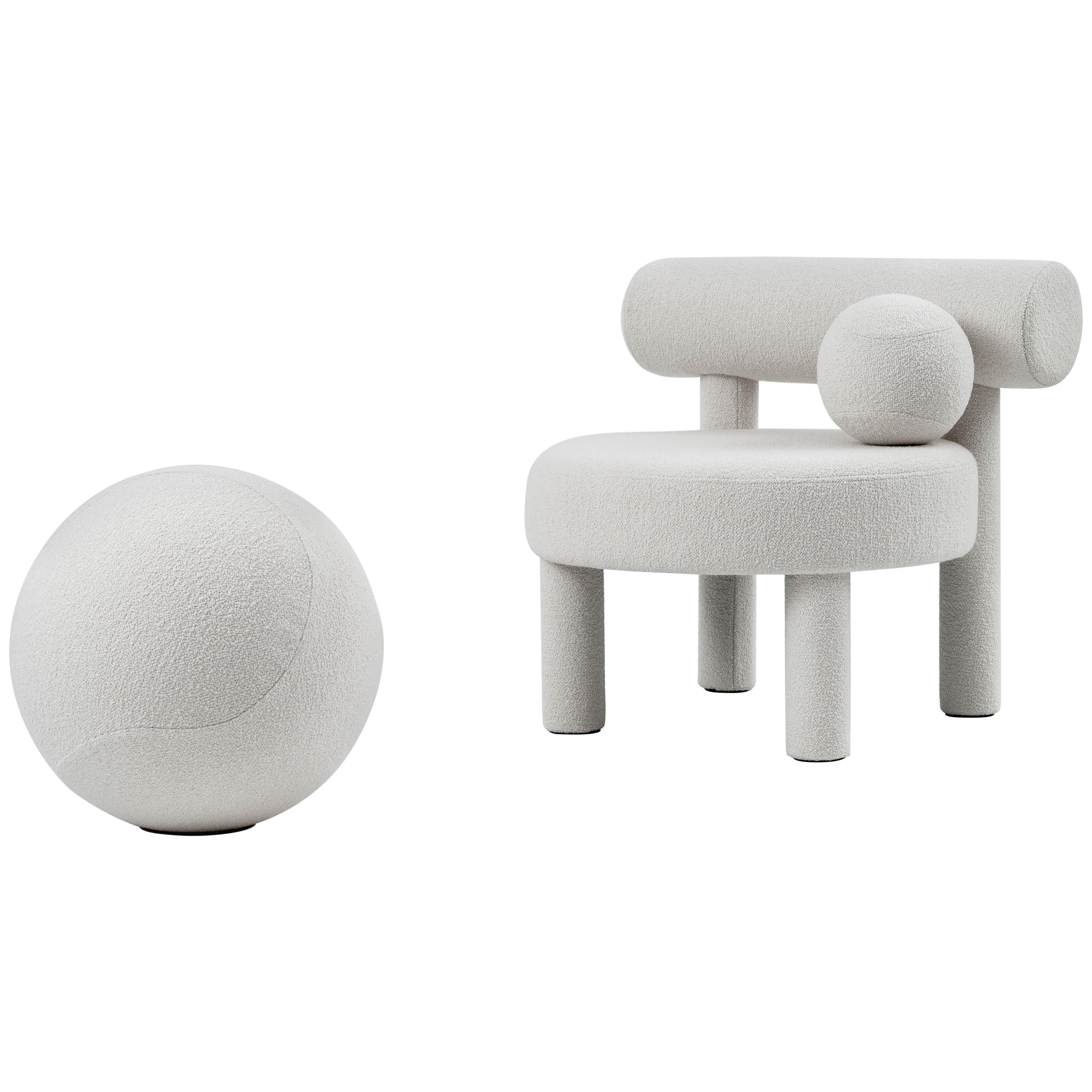 Velvet Low Chair and Spheric Stool Set by NOOM