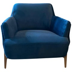 Velvet Navy Blue Colorado Armchair in Stock