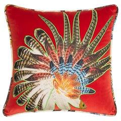 Velvet Pillow with Casamance Applique Detail
