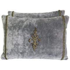 Velvet Pillows with Silver Appliques, Pair