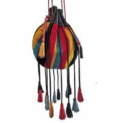 Velvet Ribbon Stripes Vivid Tassel Leather Purse Bag 70s