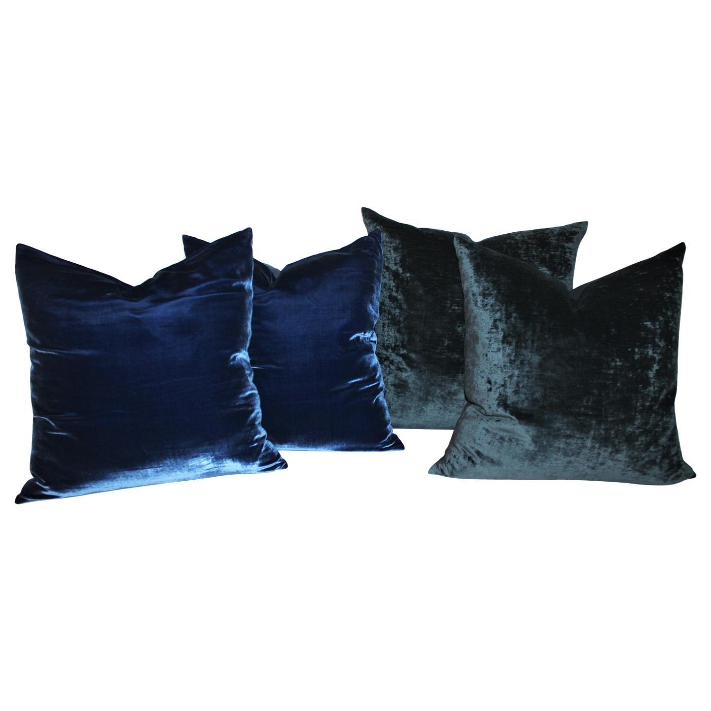 Indigo Blue Pillows, Pair at 1stDibs
