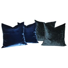 Velvet Royal Blue & Indigo Blue Pillows, Pair