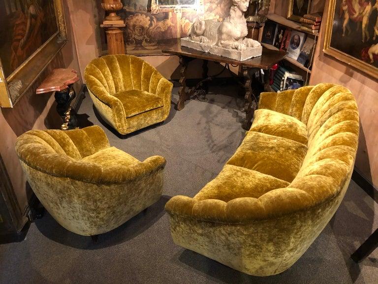 Italian Velvet Seashell Living Room Set For Sale