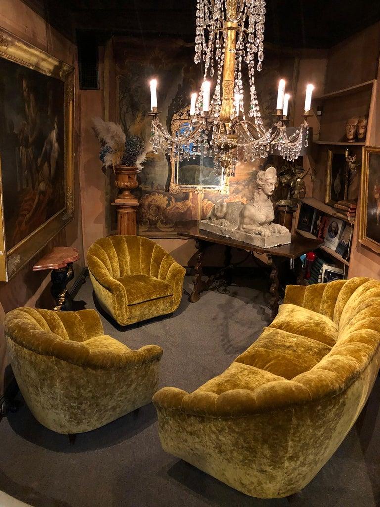 Velvet Seashell Living Room Set In Good Condition For Sale In Paris, FR