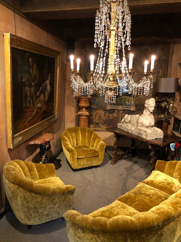 Mid-20th Century Velvet Seashell Living Room Set For Sale