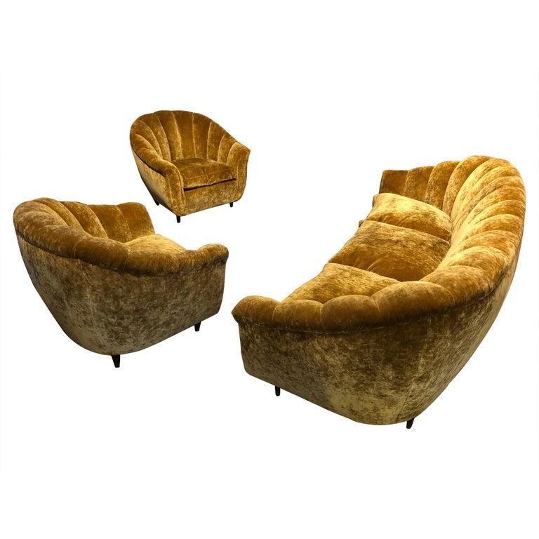 Velvet Seashell Living Room Set For Sale