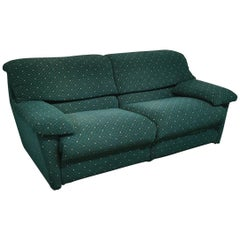 Velvet Sofa Postmodern 3-Seat by Pol 74 in Green, Italian Design, 1990s