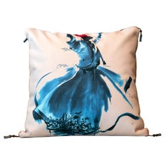 Velvet Square Decorative Pillow, Bench Blue Cushion Cover Handcrafted