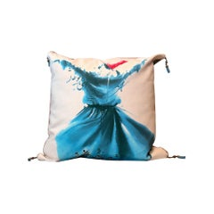 Velvet Square Decorative Pillow, Bench Blue Cushion Cover Hand Knotted