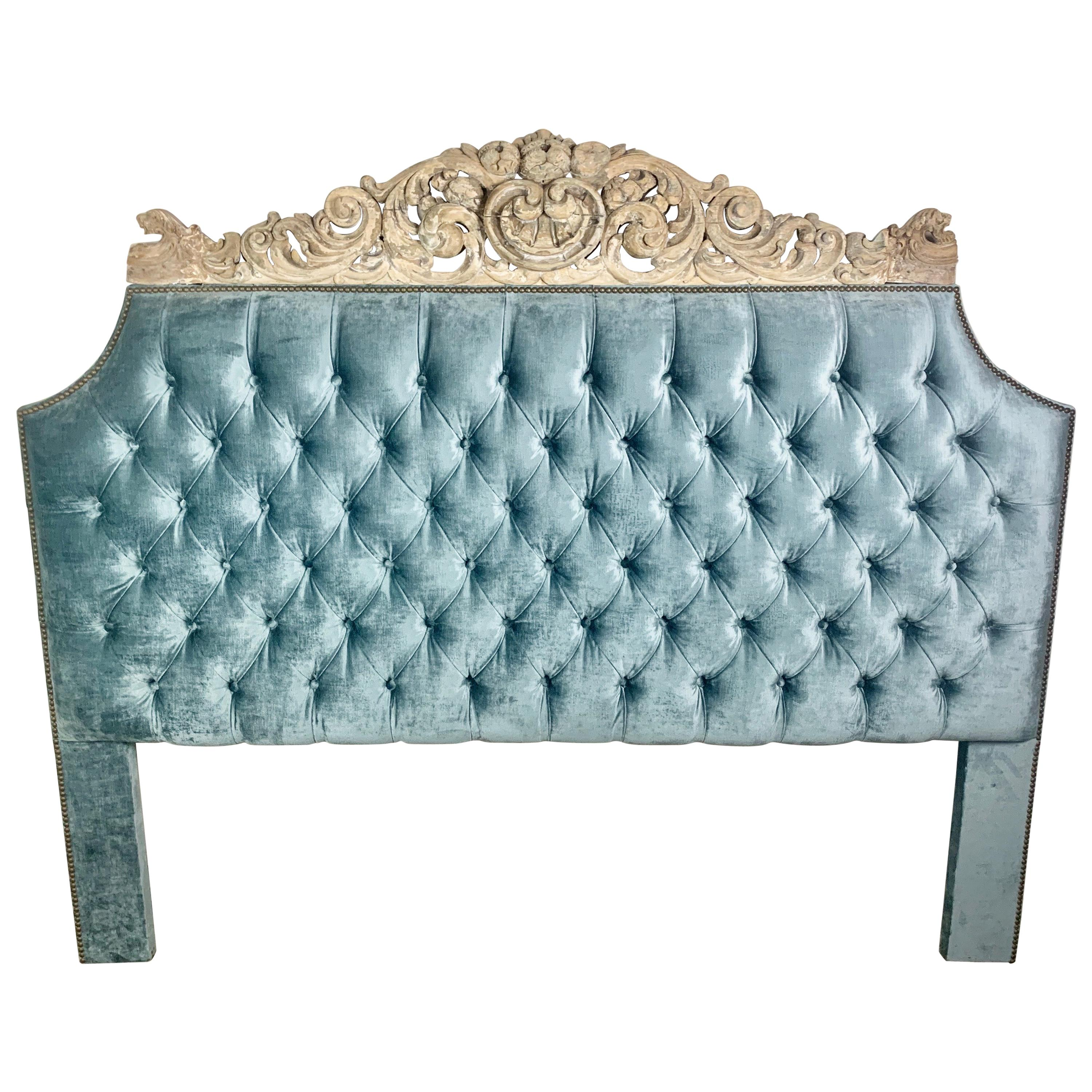 Velvet Tufted Headboard with Antique Architectural Carved Top