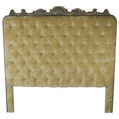 Velvet Tufted King Size Headboard with Antique Italian Painted Carving