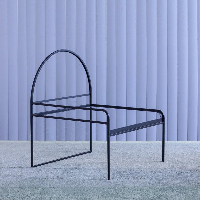 Modern Velvet Upholstered Steel SW Chair in Violet Sky by soft-geometry For Sale
