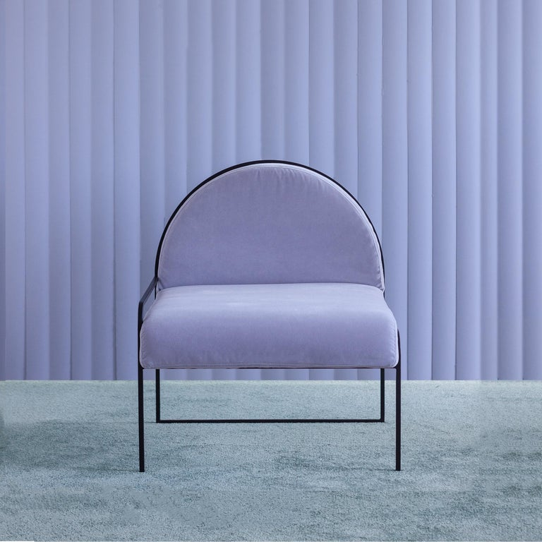 North American Velvet Upholstered Steel SW Chair in Violet Sky by soft-geometry For Sale