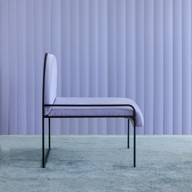 Powder-Coated Velvet Upholstered Steel SW Chair in Violet Sky by soft-geometry For Sale
