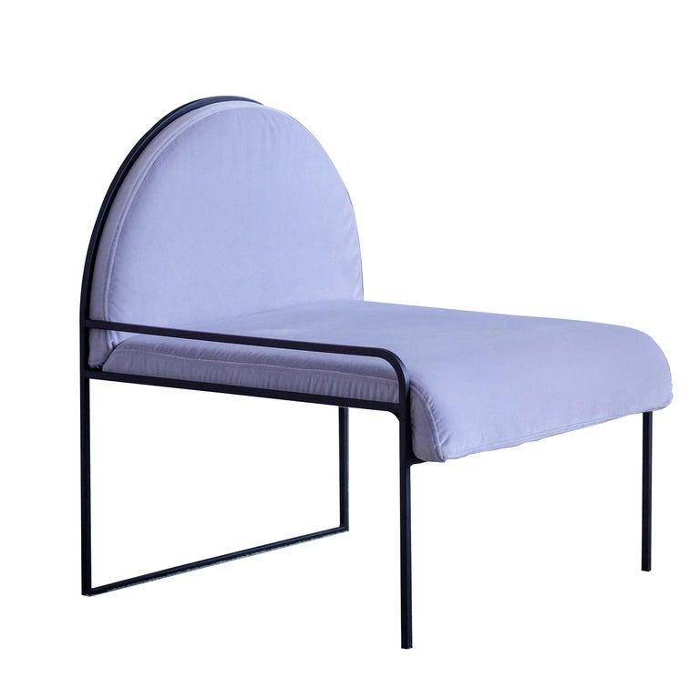 Velvet Upholstered Steel SW Chair in Violet Sky by soft-geometry For Sale
