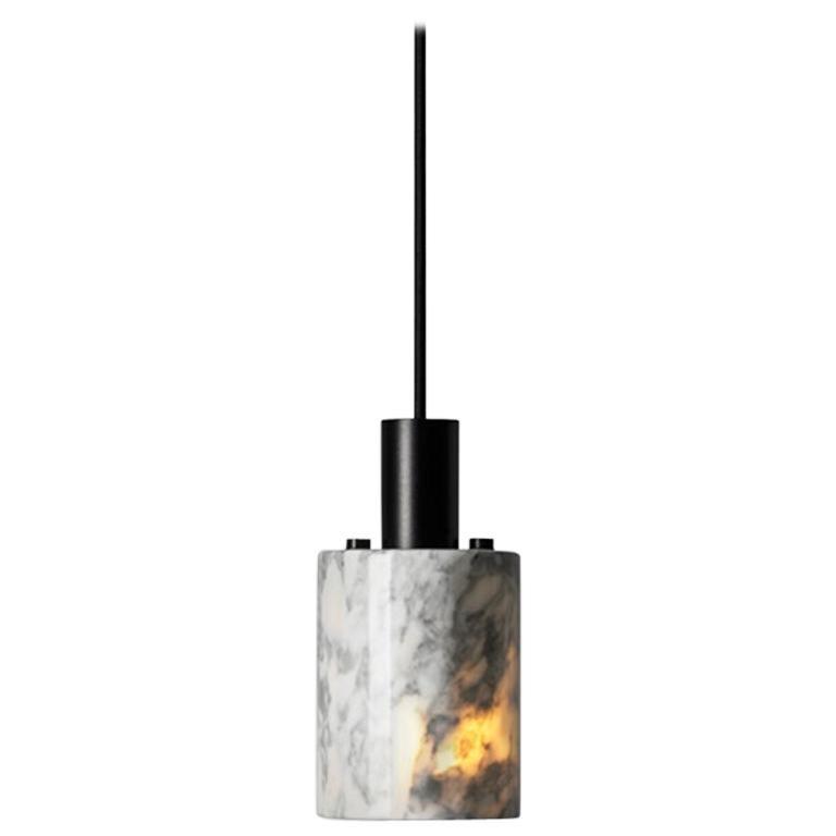 "Venato Carrara and Aluminum Pendant Light, ""N,"" by Buzao"