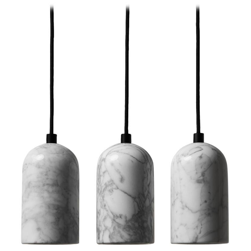 "Venato Carrara and Aluminum Pendant Light, ""U,"" by Buzao"