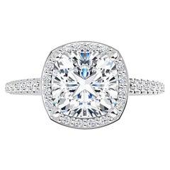 Venazia Design, 2.05 Carat Moissanite Cushion Forever One Halo Engagement Ring