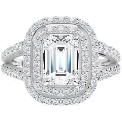 Venazia Design, 2.75 Carat Moissanite Emerald Forever One Double Halo Pave Ring