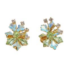 Vendome Aurora Borealis Rhinestone Earrings, Signed, circa 1950