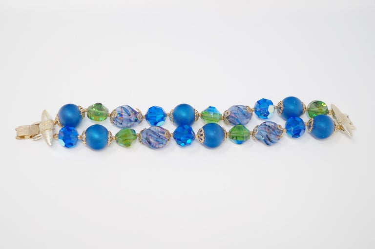 Modernist Vendome Beaded Bracelet with Aurora Borealis Crystals, circa 1950, Signed For Sale