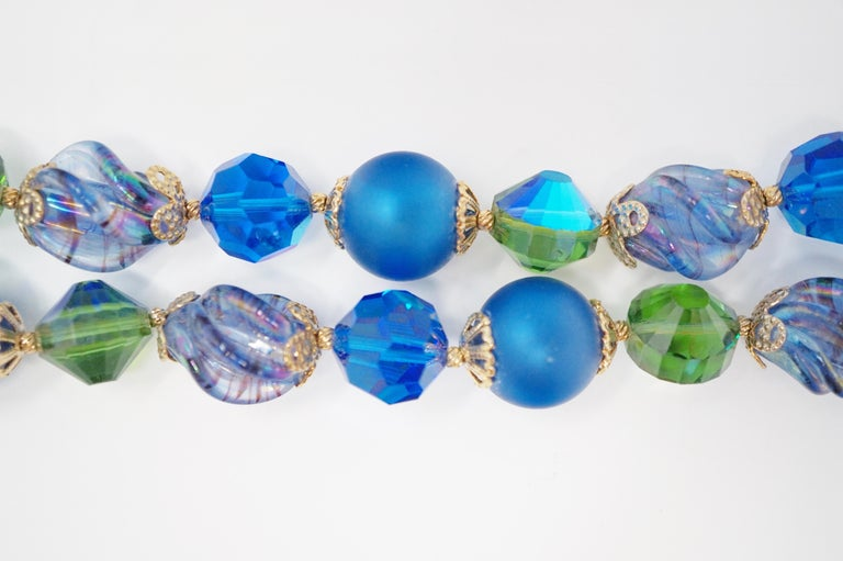 Vendome Beaded Bracelet with Aurora Borealis Crystals, circa 1950, Signed In Excellent Condition For Sale In Los Angeles, CA