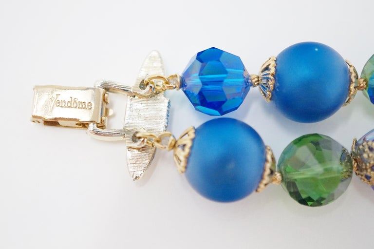 Vendome Beaded Bracelet with Aurora Borealis Crystals, circa 1950, Signed For Sale 2