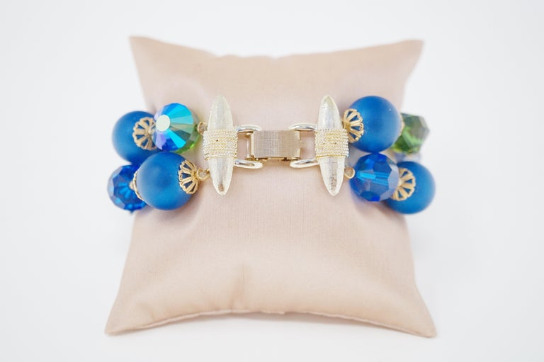 Vendome Beaded Bracelet with Aurora Borealis Crystals, circa 1950, Signed For Sale 4