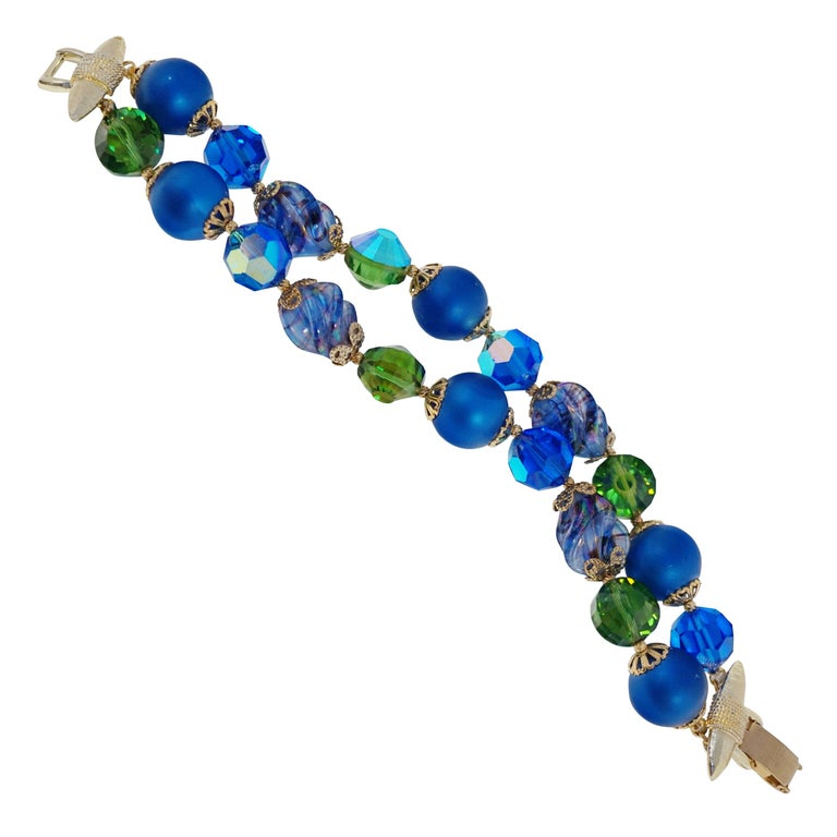 Vendome Beaded Bracelet with Aurora Borealis Crystals, circa 1950, Signed For Sale