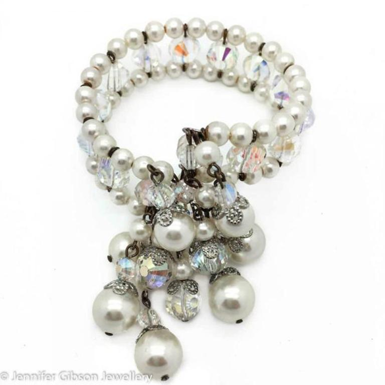 A very eye-catching signed Vendome crystal and pearl collar necklace, with matching wrap bracelet, circa 1950s. Vendome are famous for their sumptuous collections and creations and Vendome pieces such as this without doubt exuded elegance and class