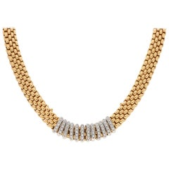 Vendome Diamond Fope Necklace Set in 18 Karat Yellow and White Gold