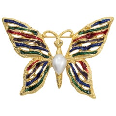 Vendome Enamel Butterfly Scatter Pin, Faux Pearl, Red Green and Blue Enamel