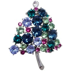 Vendome Jeweled Christmas Tree Pin, Festive Vintage Brooch