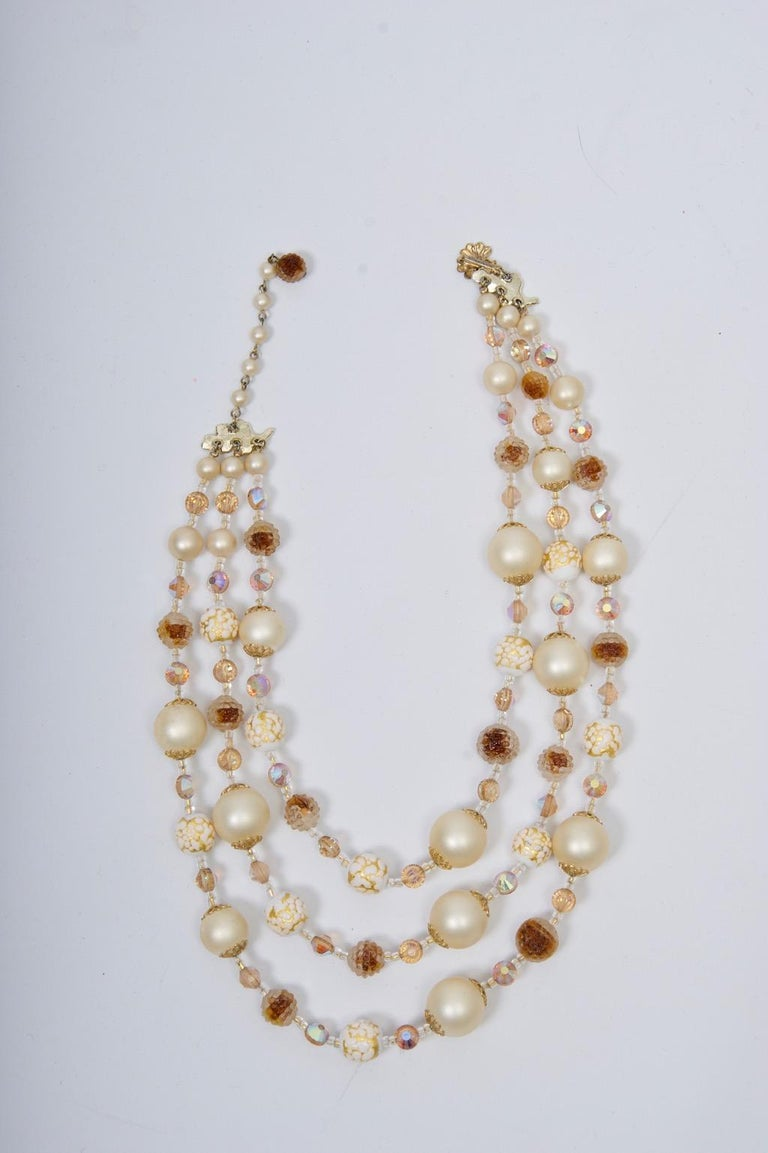 Vendome Pearl and Crystal Semi-Parure In Excellent Condition For Sale In Alford, MA