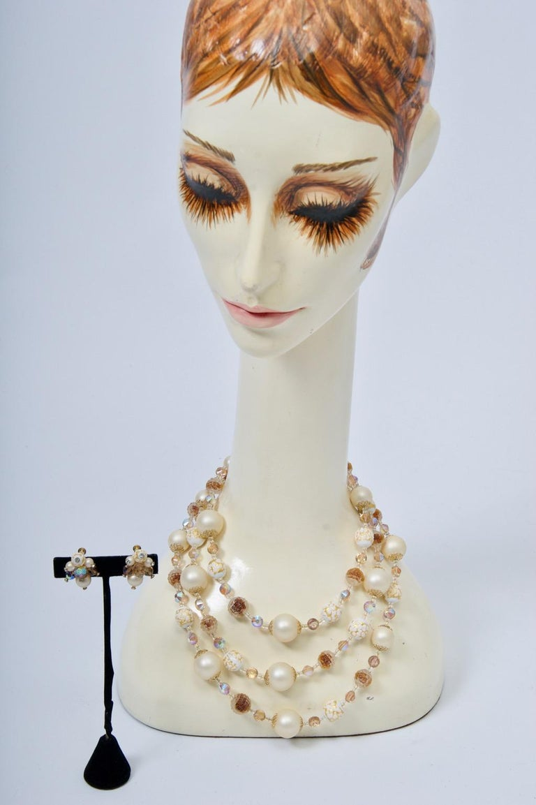Vendome Pearl and Crystal Semi-Parure For Sale 5