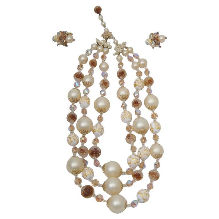 Vendome Pearl and Crystal Semi-Parure For Sale