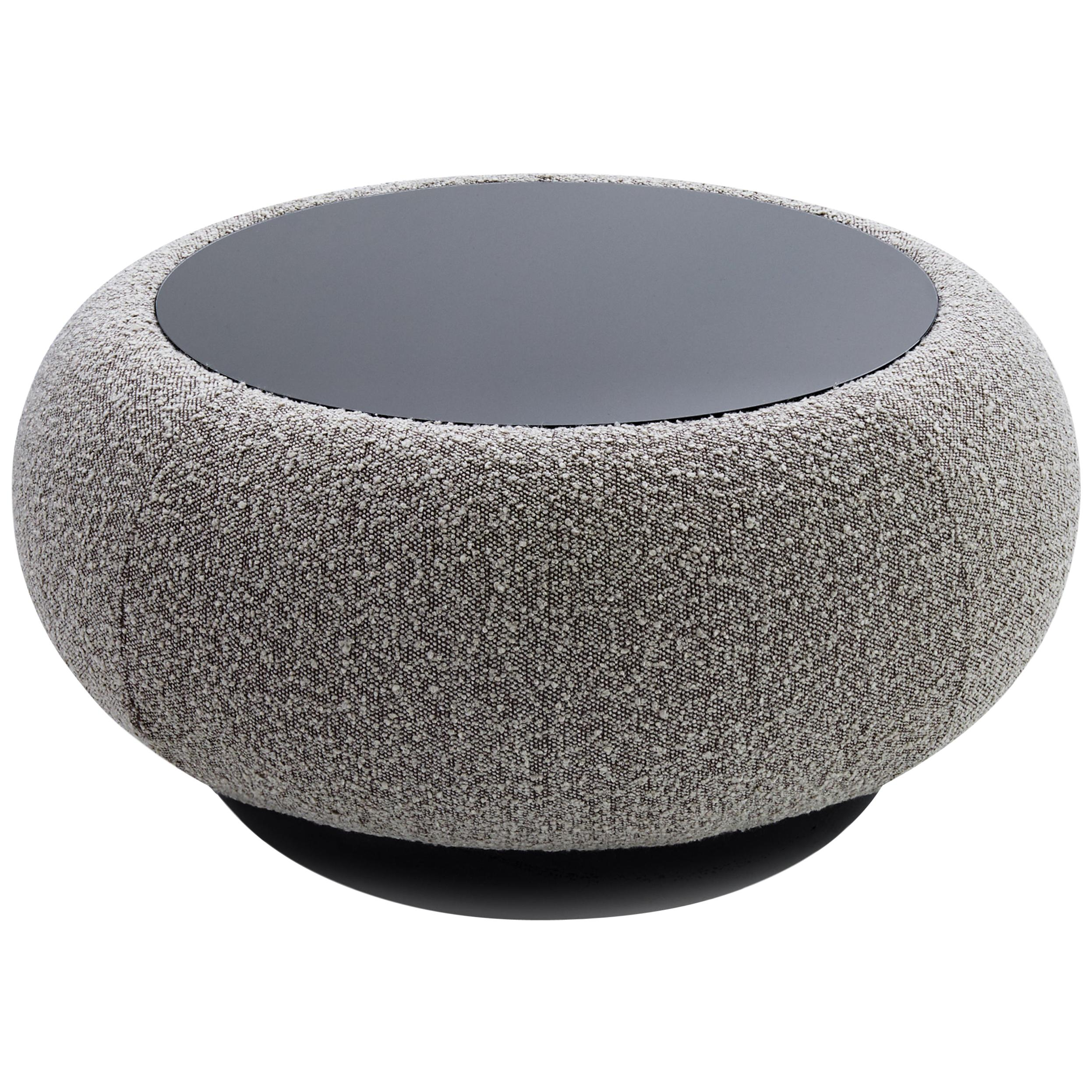 Vendôme Round Coffee Table with Black Glass Top and Glossy Lacquered Base
