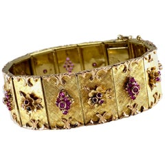 Vendorafa Midcentury Ruby Panel Bracelet Set in 18 Karat Yellow and Rose Gold