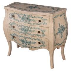 Veneitan Paint Decorated Bombe Commode Dresser