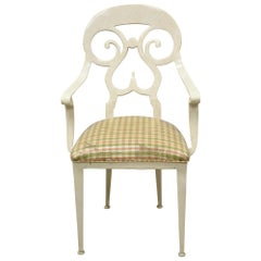 Veneman Furniture Regency Style Cast Aluminum Spade Back Saber Leg Armchair