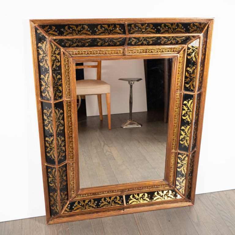 Mid-Century Modern Venetian 1940s Hollywood Shadowbox Mirror with Reverse Églomisé & Gilt Detailing For Sale
