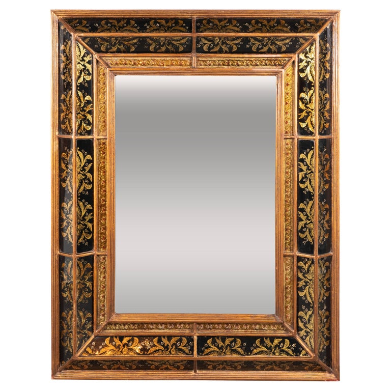 Venetian 1940s Hollywood Shadowbox Mirror with Reverse Églomisé & Gilt Detailing For Sale