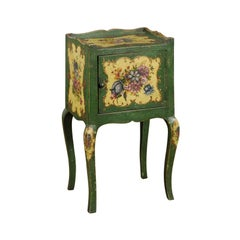 Venetian 19th Century Rococo Style Green Bedside Table with Painted Floral Décor