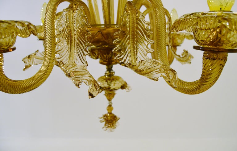 Venetian Amber Colored Glass Chandelier For Sale 4